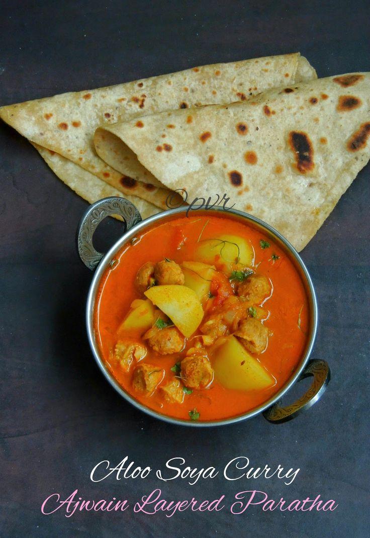 Ajwain Layered Paratha & Aloo Soya Curry