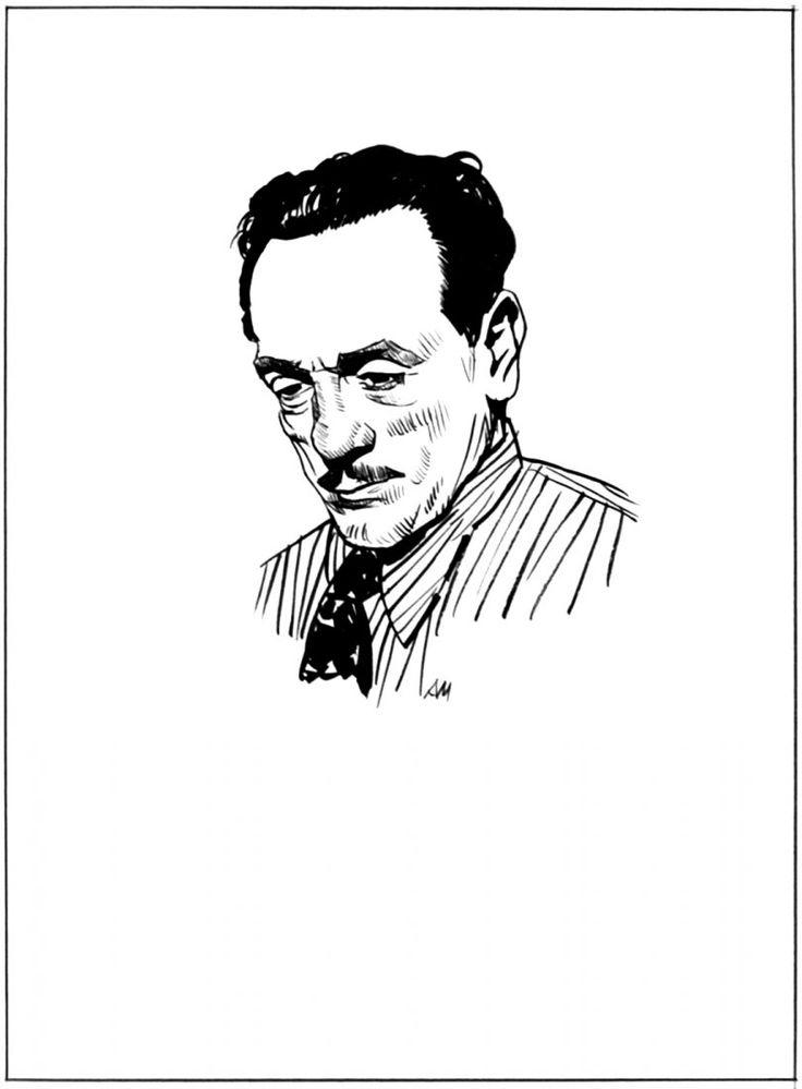 """Attilio Micheluzzi Eduardo De Filippo ritratto pubblicato a pag. 16 de """"Il giornalino"""" n°20, 1985. Matita e china su carta cm 25x35 (disegno cm 11x12). Firmato con monogramma."""