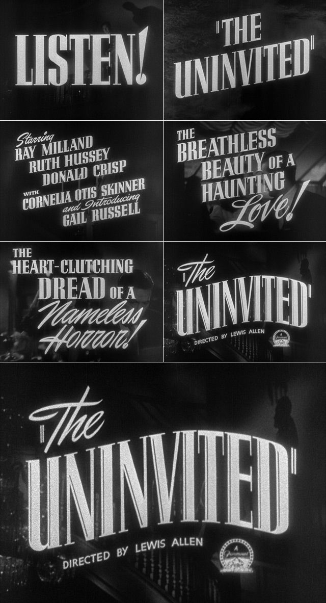 The Uninvited (1944) trailer typography - the Movie title stills collection #horror #movies #horrormovies