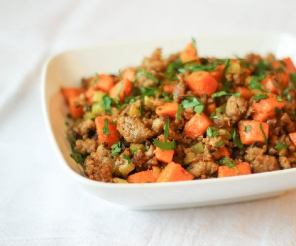 Sweet potato & Sausage Hash. Can be a yummy egg free breakfast or top it with a fried egg.