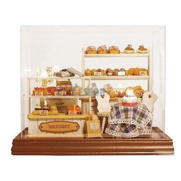 Dollhouse Miniature Diy Kit W Light Cake Store Bakery: Dollhouse Miniature DIY Kit DIY Bread Cake Bakery Store