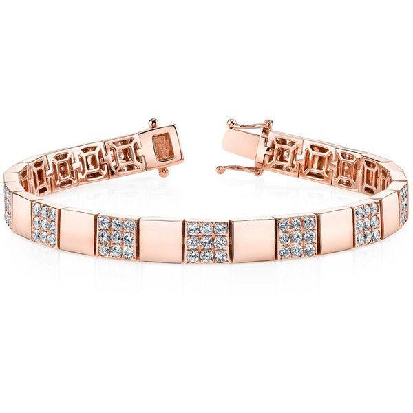 DIAMOND SQUARE LINK BRACELET ($15,975) ❤ liked on Polyvore featuring jewelry, bracelets, diamond jewellery, 18 karat gold jewelry, diamond bangle, 18k jewelry and square bangle
