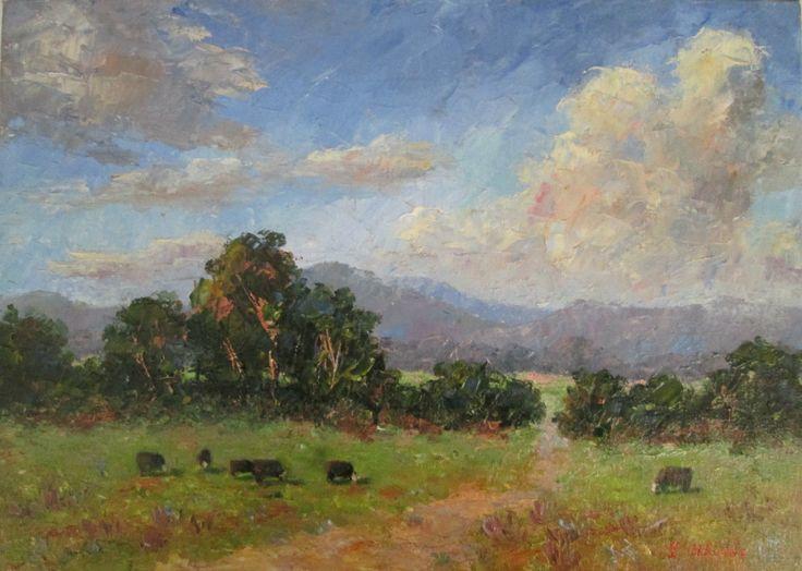 Original Oil Painting Australian Impressionist Artist Enoch Hlisic JELLS PARK | eBay