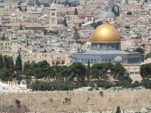 the Temple Mount with the Dome of the Rock, as seen from the Mount of Olives, Jerusalem