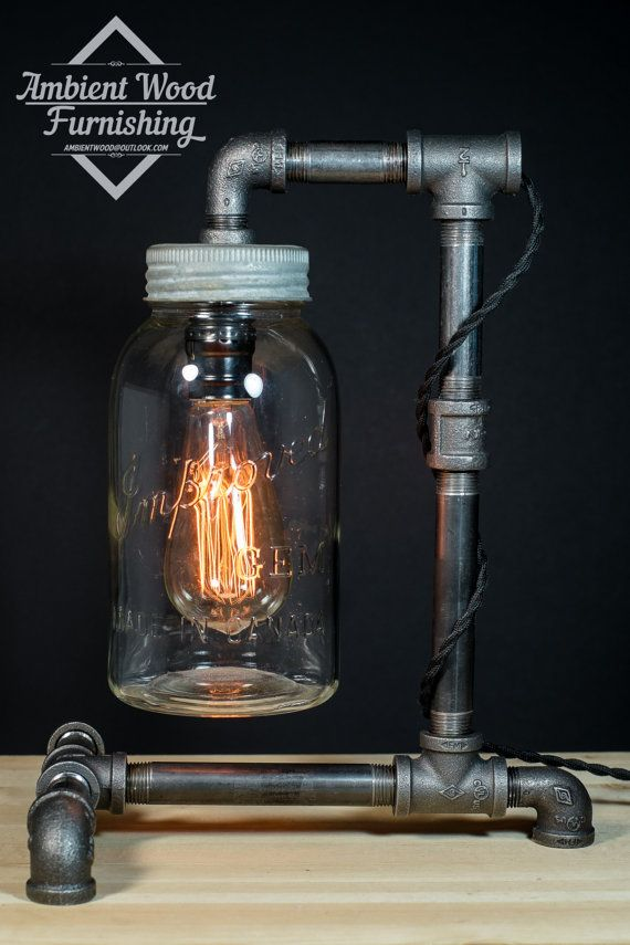 Industrial Iron Pipe Desktop Lamp With Vintage 1940 by AmbientWood