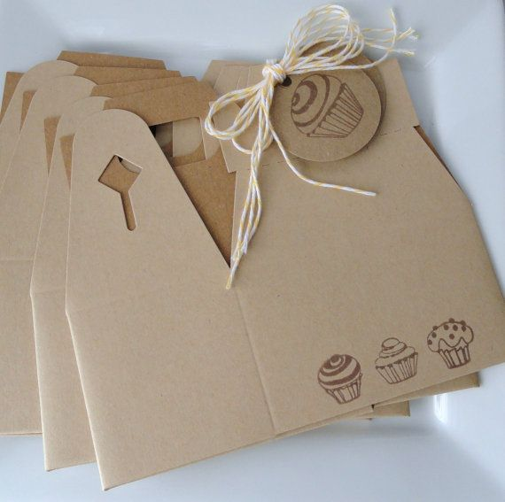 Cupcake Trio Border Gable Boxes - Hand stamped - candy and or gift party favor box - Set of 4 - with 4 cupcake tags and twine