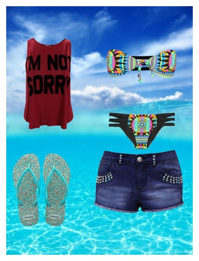 """""""Beach Time <3"""" by cherokeejune ❤ liked on Polyvore featuring Mara Hoffman, Jane Norman and Havaianas"""
