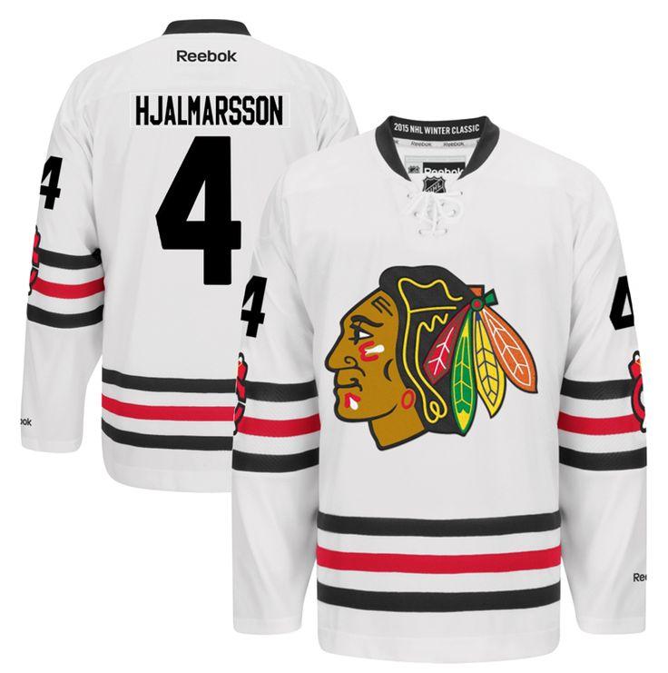 Mens Chicago Blackhawks Niklas Hjalmarsson Reebok White 2015 Winter Classic Premier Jersey