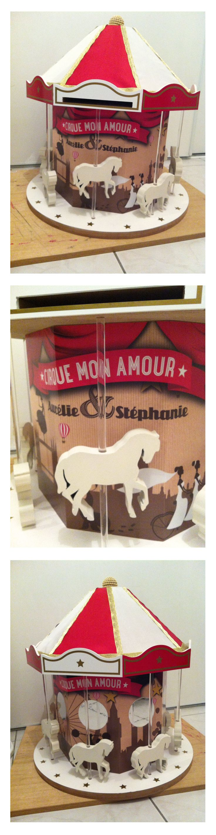 carrousel urne mariage th me cirque vintage mes cr a. Black Bedroom Furniture Sets. Home Design Ideas