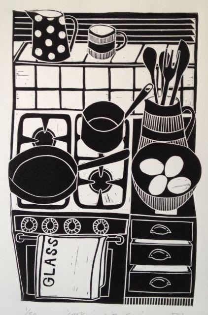 cooking with eggs lino print © jan brewerton http://www.janbrewerton.co.uk