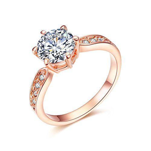 Bella Barry ウエディング CZダイヤ リング レディース 婚約指輪(ラウンド形)  美しくファッションなデザイン、プレゼントに最適 カラー:ゴールド/シルバー 幅:0.30インチ(0.7cm)