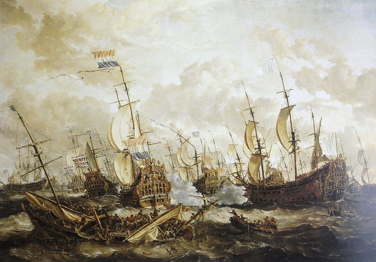 The Four Days sea Battle, which raged from 11 to 14 June 1666, was one of the longest sea battles in history.The English fleet attact around noon on June 11 the Dutch rearguard under Admiral Cornelis Tromp, During this bloody confrontation in the Second Anglo-Dutch War, the Dutch and English fleets both lost over 1,500 men. However, the English lost the most ships (10 pieces) against the Hollanders (4 pieces), so they are considered as the losers of the battle today