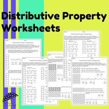 Distributive Property Worksheets: Practice for understanding the distributive property in math.