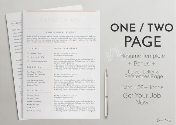 15 best One Page Resume Template images on Pinterest Resume - one page resume template word