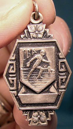 Art Deco STERLING Silver BOWLING Trophy FOB or Pendant 1920