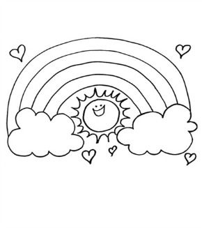 rainbow sun colouring page