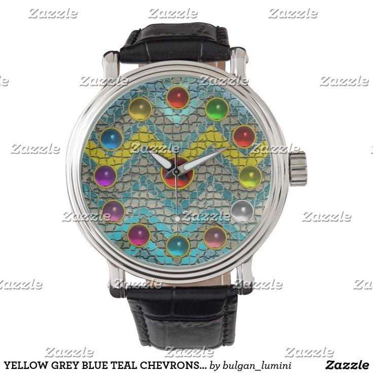 YELLOW GREY BLUE TEAL CHEVRONS COLORFUL GEMSTONES WRIST WATCH #watches #fashion #wristwatches #jewel #chevron #jewelry #gem