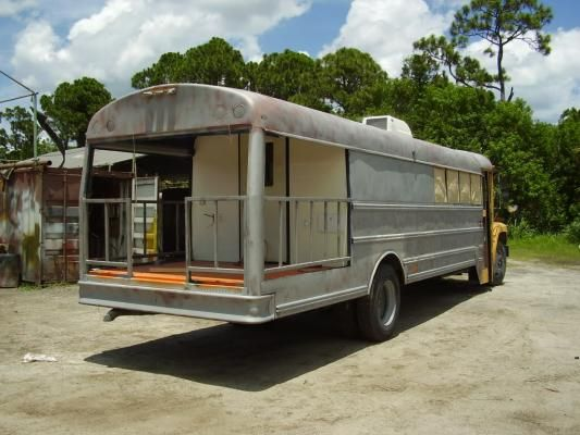 converted school bus with back porch