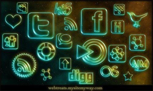 Social Media Icons Social Media Icons Social Media Icons: Social Network, Icon Set, Social Media Icons, Neon Social, Blog, Medium