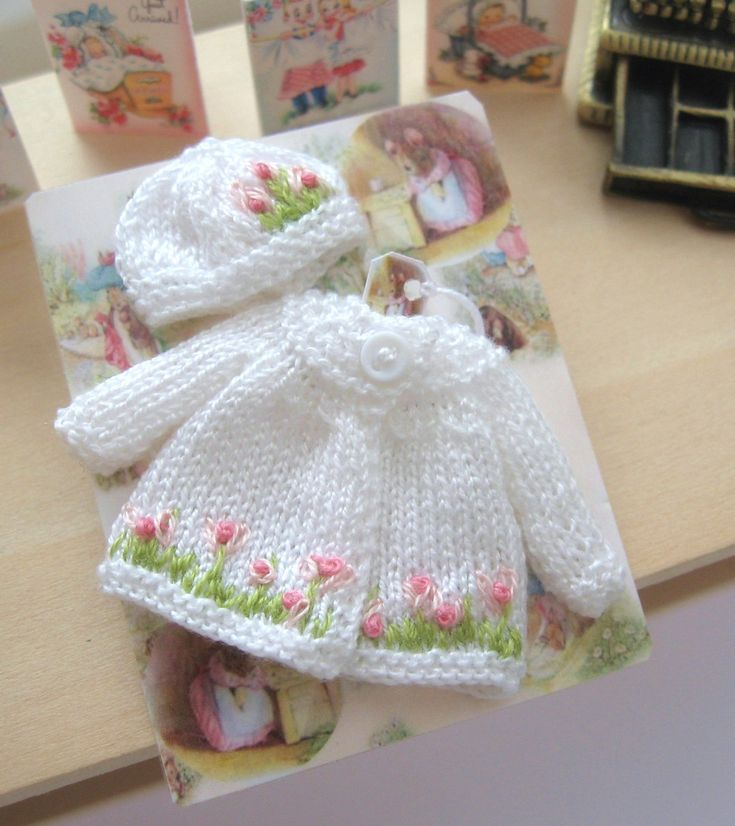 dollhouse baby doll knitted outfit matinee coat and hat 12th scale miniature ...