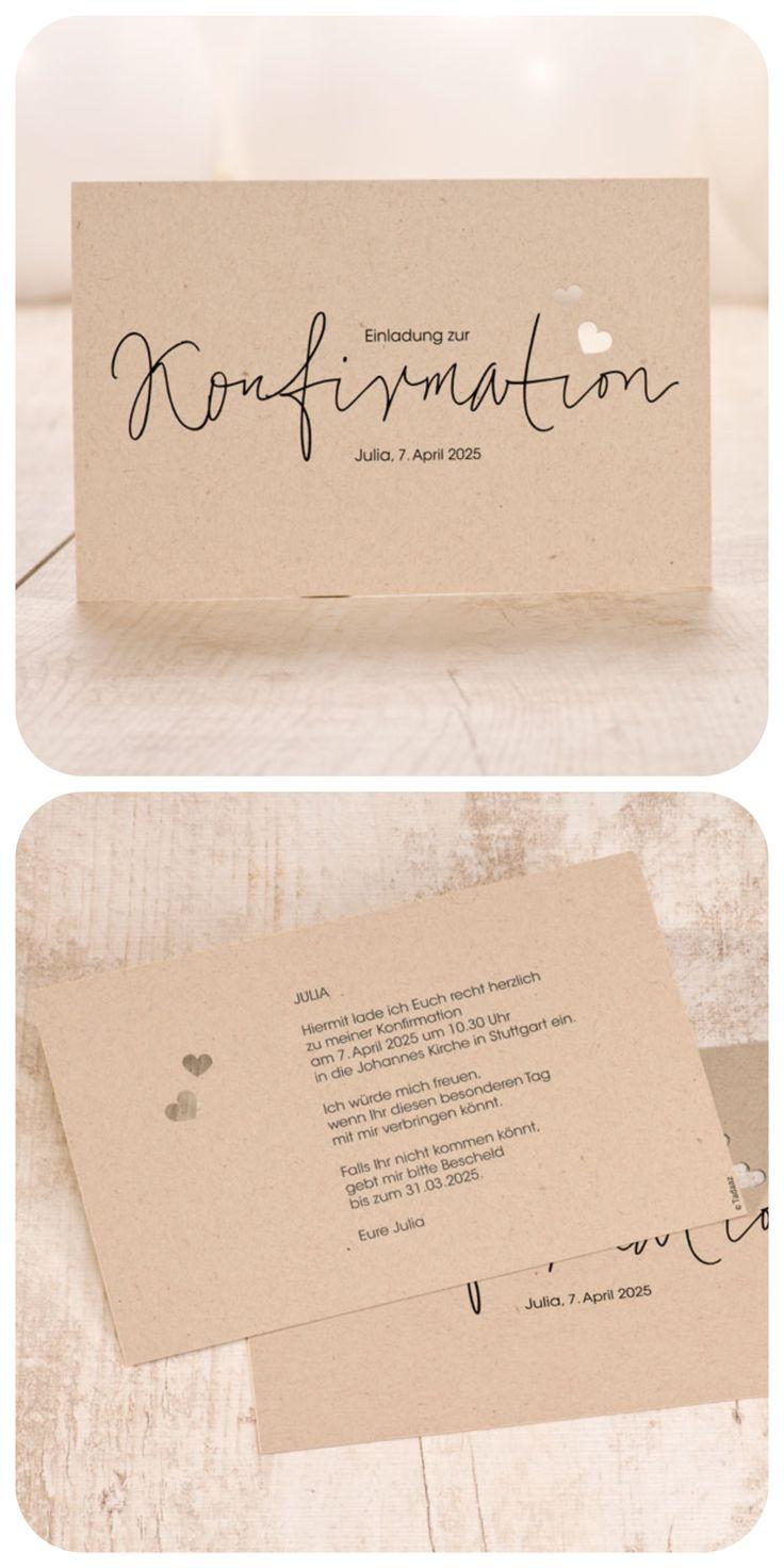 Einladungskarte Konfirmation in Kraftpapieroptik mit Handlettering und Lasercut
