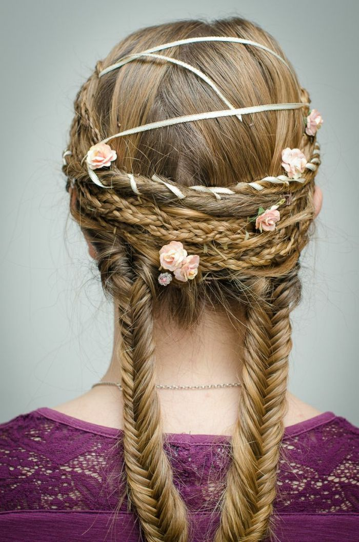 renaissance hairstyles, dark blond hair, woven in two braids, with more differently sized braids and twists, in the upper part of the head, decorated with white ribbon, and small pink flowers
