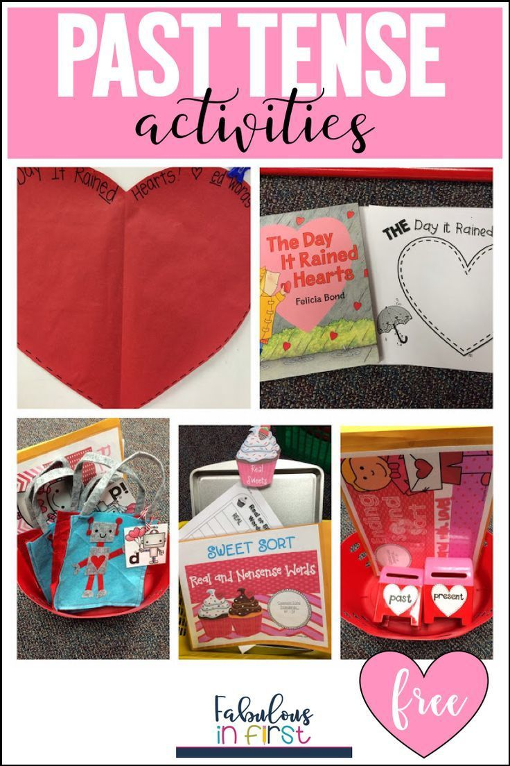 Grab these free past tense centers at Fabulous in Firsts FB Fan Freebies. These past tense Valentine activities are great for first and second grade.