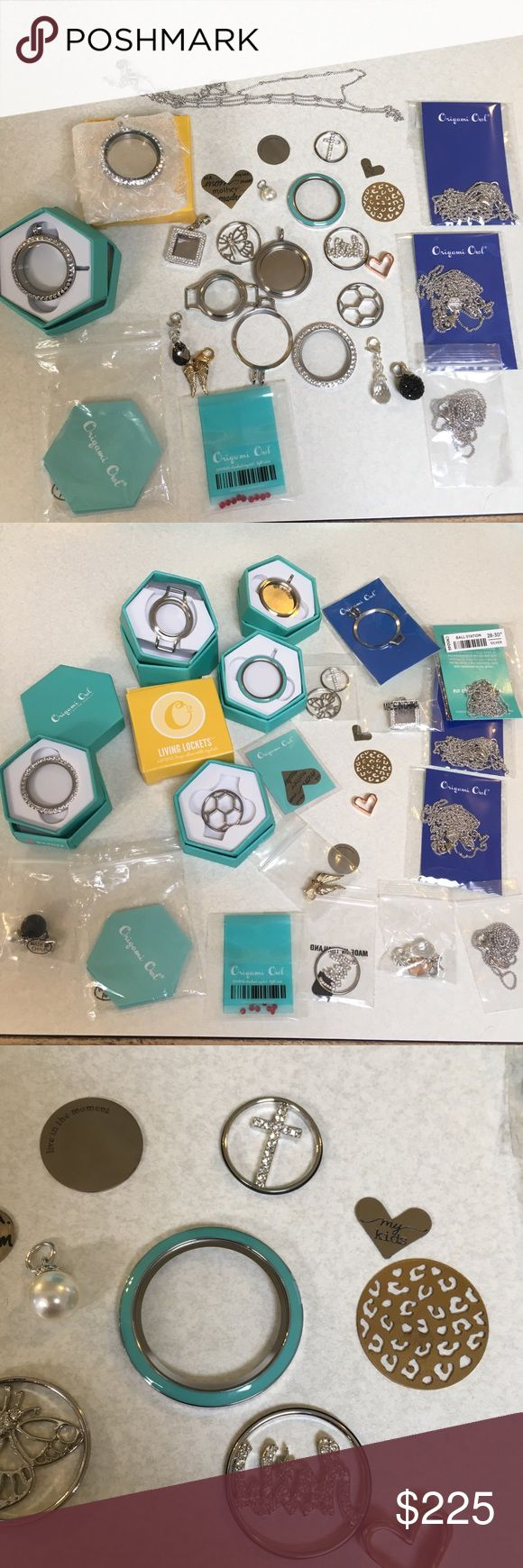 Origami Owl Lot chains lockets plates Crystal new Most of the pieces shown are new, some display, all are authentic. Pieces may not be in the right packing. One piece is used for sure open locket w/ my story plate which I secured in w/ tape. 4 chains, 7 plate inserts, 5 dangle charms , 1 pack red stardust crystals,1 charm divider -catcher,1 rose gold heart slide, 1 photo locket charm,1 dangle holder backing, 1 teal face,1 back of bracelet locket, 1 swarovski clear face, 2 complete large…