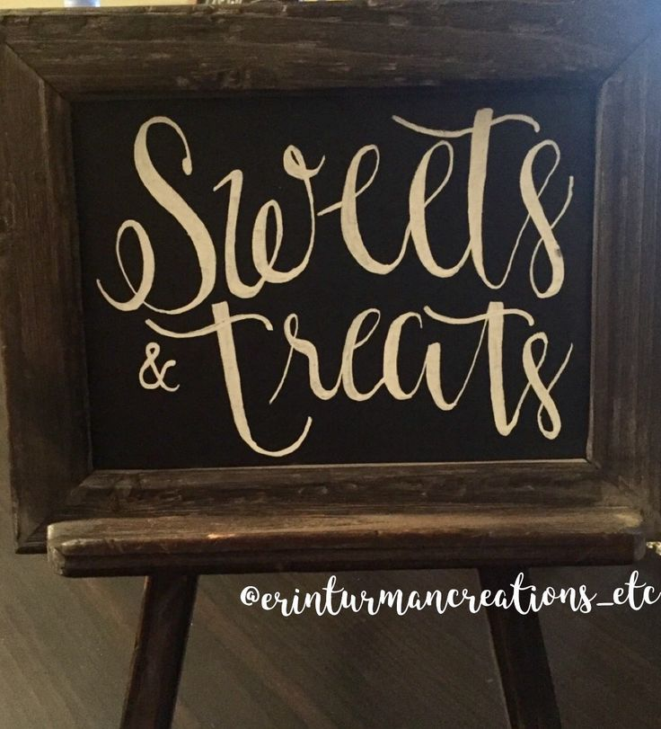 A cute little easel sign for your snack table! Perfect for a shower, party, or wedding. Like @erinturmancreations on Instagram for more!