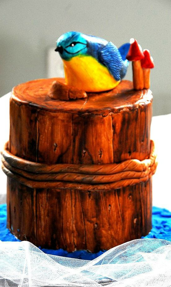 Bird on a tree stomp cake