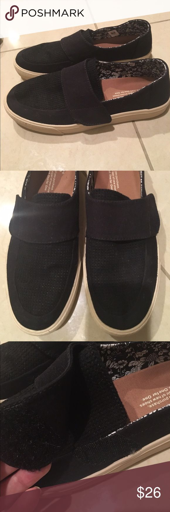 WORN ONCE! Size 7.5 TOMS loafers/slip on shoes I wore these once for just a few hours!  I loved them except they're a 1/2 size too big. The reviews said order a size up, I'm a perfect size 7, I ordered a 7.5 & they're a smudge too big. They run perfectly TTS. Worn one time, no flaws, light signs of wear on bottom since I did wear them outside. They have a Velcro strap so you can tighten or loosen, which is awesome for people with wide feet or narrow feet. TOMS Shoes Flats & Loafers