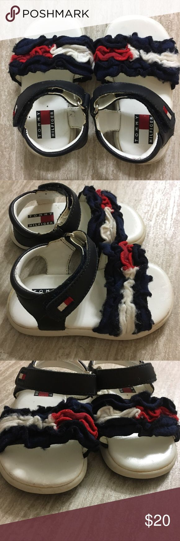 Tommy Hilfiger baby sandals In good used condition with no flaws. Cute ruffle detail at top, Velcro closure. Feel free to ask questions! Tommy Hilfiger Shoes Sandals & Flip Flops