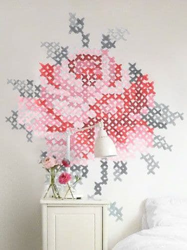 17 best images about giant cross stitch on pinterest for Cross stitch wall mural