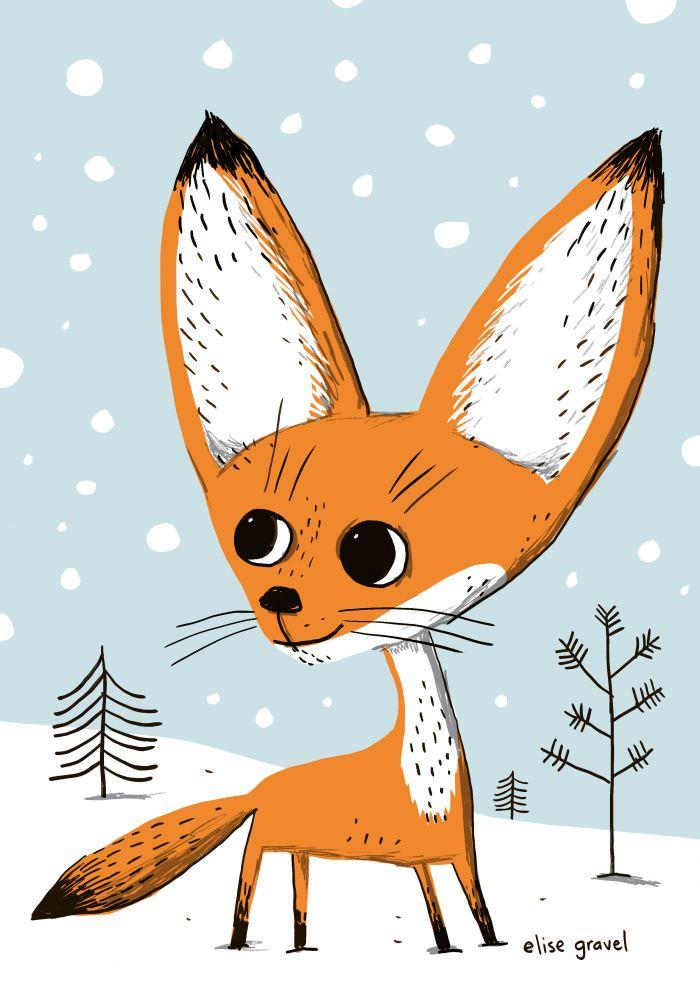 Elise Gravel illustration • baby fox in first snow
