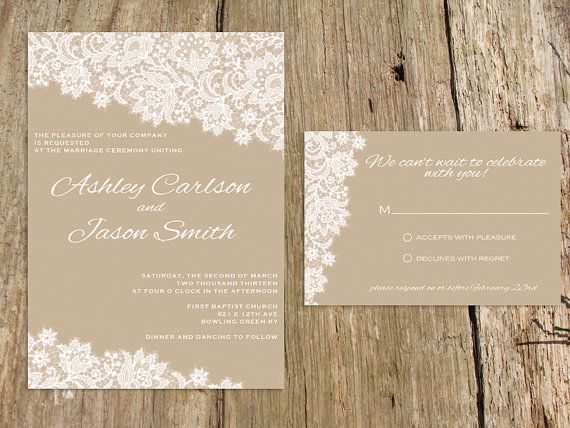 Lace Wedding Invitation Suite - As seen on Style Me Pretty - customize with your colors - shown in latte and white