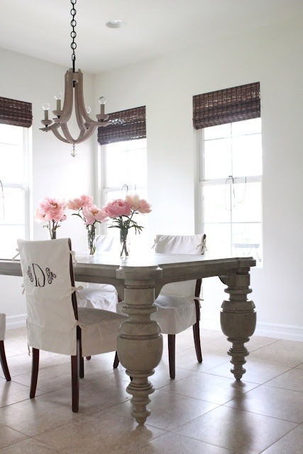 monogrammed slipcovers + gorgeous chandelier from me oh my!
