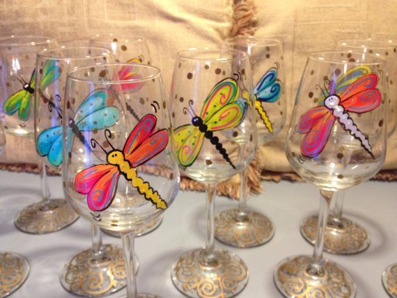 Hand Painted Dragonfly Stemware Glasses by paintingbymichele