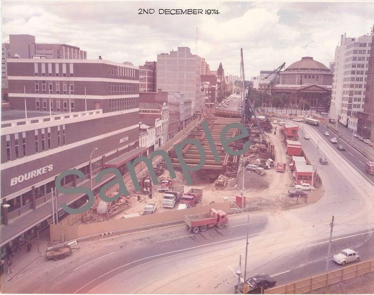 Latrobe St at the start of the construction of Museum station known as Melbourne central.