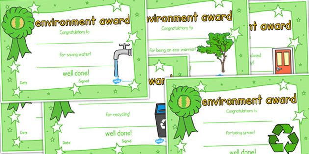 Environment Certificates - environemnt, certificate, award, reward - school certificate templates