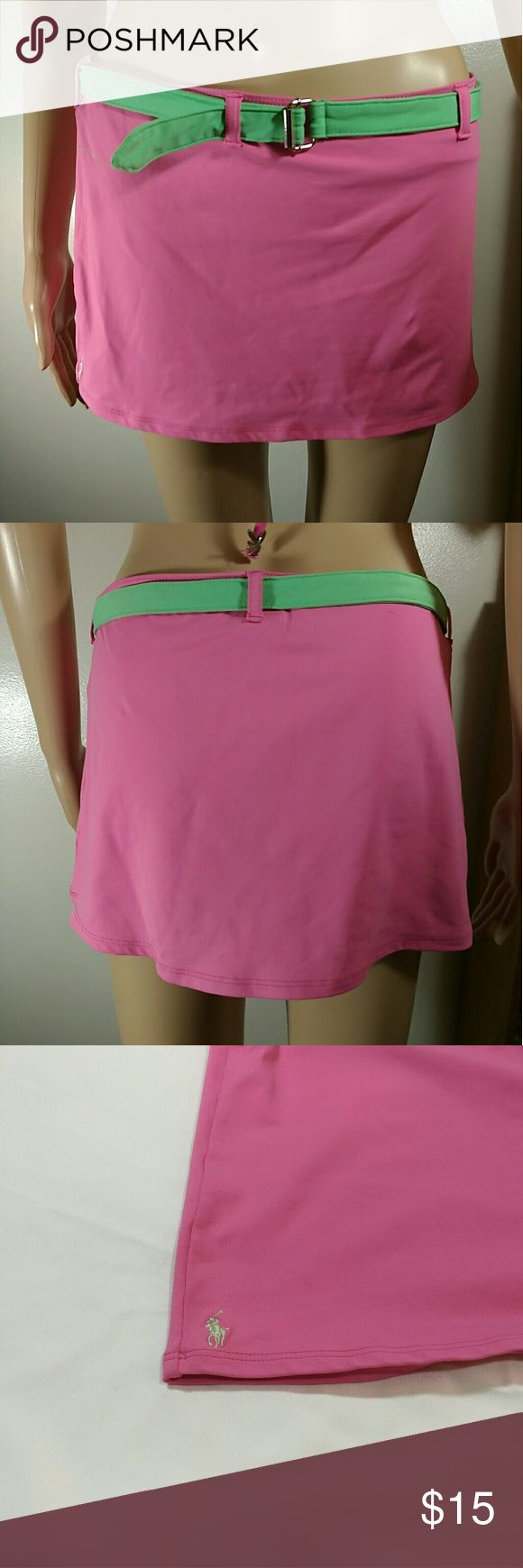 Ralph Lauren Bikini Pink Skirt With Green Belt S In overall good condition. No rips. No holes. No stains. (Self) 75% nylon 24% lycra spandex . (Lining) 82% nylon 18% lycra spandex. Size Small. Please check my pictures posted for details and if you have any questions, please feel free to ask. (B)   * no trades * offers discounts with bundles * color may vary slightly Ralph Lauren Swim