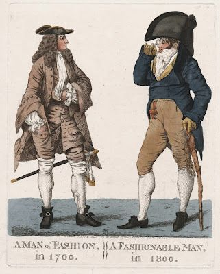 """""""A man of fashion in 1700: A fashionable man in 1800"""", drawn, etched & published by Dighton, Charg. Cross, London, 1800. Copyright Lewis Walpole Library, Yale University.  For more info: http://twonerdyhistorygirls.blogspot.com/2012/03/more-fashions-for-gentleman-1700-vs.html"""