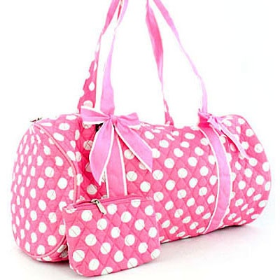 Large Quilted Polka Dot Duffel Bag w/ Bonus Makeup Bag (Pink / White)
