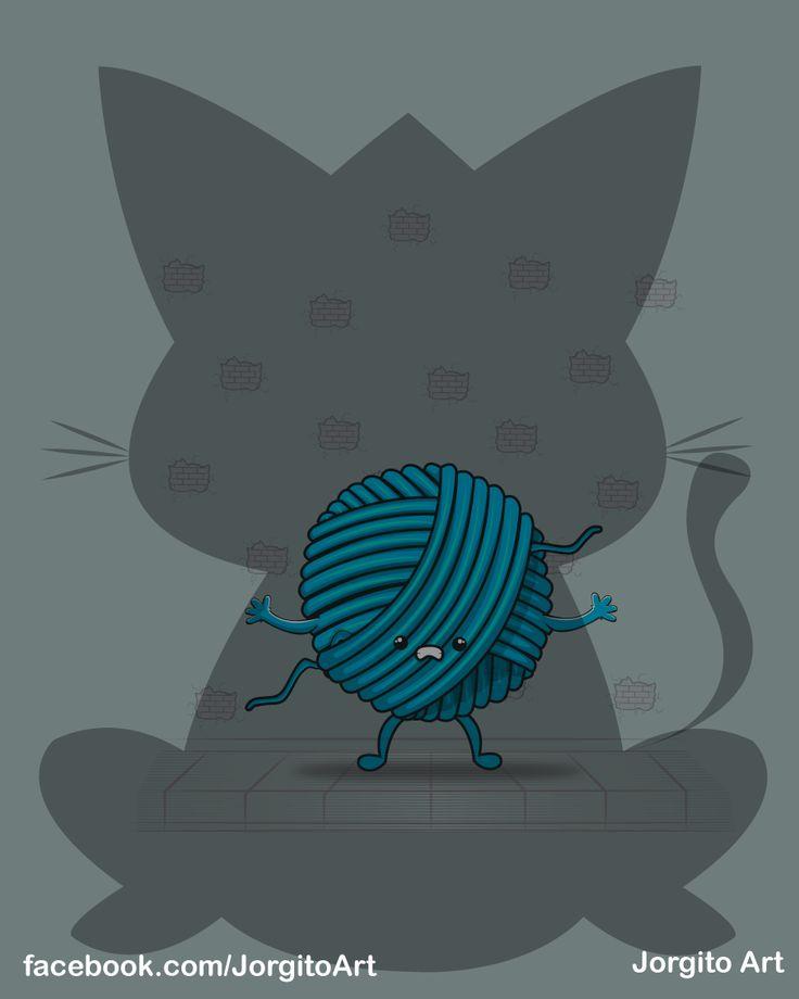 Temor de una bola de lana #Diseñosparacamisetas #facebook.com/Jorgitoart