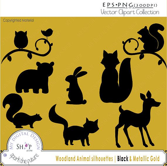 70 Sale Woodland Animal Silhouettes Clipart Vector Eps