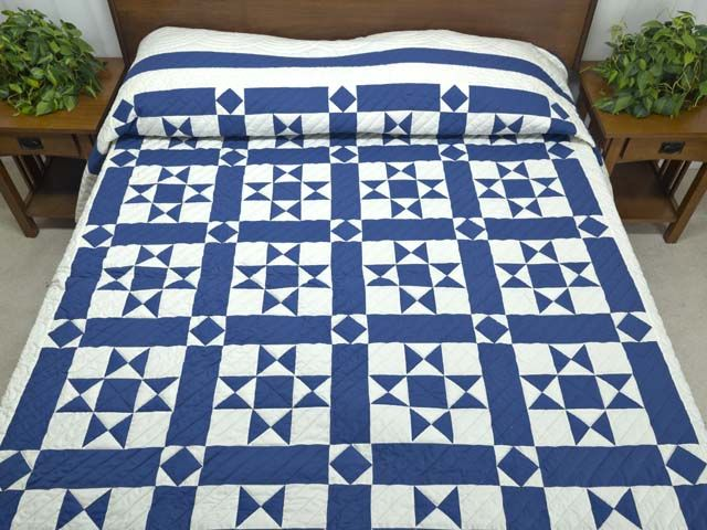 Framed Ohio Star Quilt -- terrific cleverly made Amish Quilts from Lancaster (hs5881)