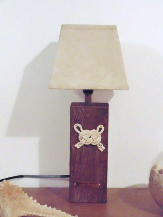 lampe en bois flotté - noeud marin - abat-jour lin carré - noeud de Carrick