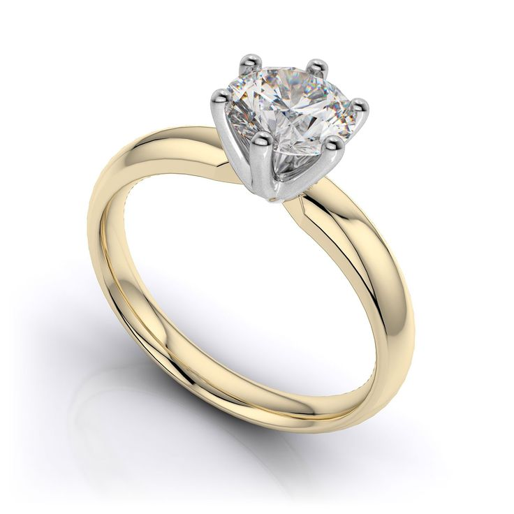 0.95 Ct round cut handmade designer diamond ring with duo-tone setting and  band. Choice of 9K/14K/18K white, yellow and rose gold, platinum and palladium. Product No: PY12002