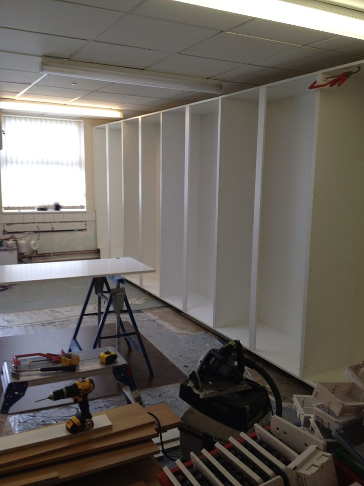 This was a 6m x 2m floor to ceiling storage in first school class room with sink unit