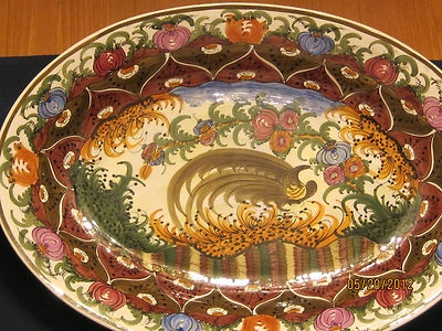 "Authentic Signed Skyros Platter 17"" Oval Peacock Design"