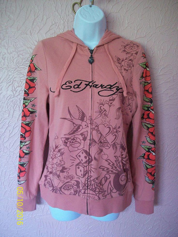 Don Ed Hardy Full Zip Hooded Sweat Jacket Junior Size XS Pink Roses Birds  #EdHardy #SweatJacket